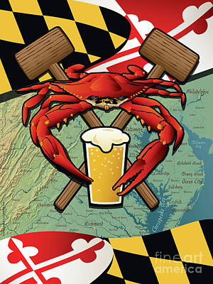Digital Art - Maryland Crab Feast Crest by Joe Barsin