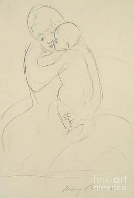 Drawing - Maternal Caress by Mary Stevenson Cassatt