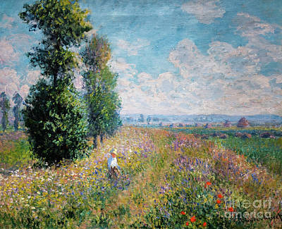 Painting - Meadow With Poplars by Claude Monet