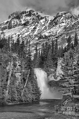 Photograph - 2 Medicine Trick Falls Spring Black And White by Adam Jewell