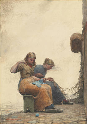 Net Painting - Mending The Nets by Winslow Homer