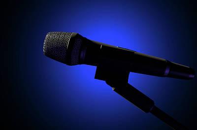 Microphone Digital Art - Microphone And Stand Dark by Allan Swart