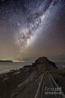 Moonlit Night Photograph - Milky Way Over Cape Schanck, Australia by Alex Cherney, Terrastro