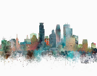 Painting - Minneapolis Minnesota Skyline  by Bri B