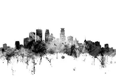 Minneapolis Digital Art - Minneapolis Minnesota Skyline by Michael Tompsett