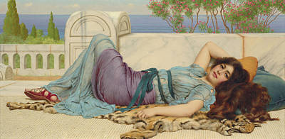 Mischief And Repose Art Print by John William Godward