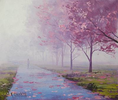 Forest Trail Painting - Misty Pink by Graham Gercken