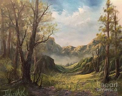 Misty Valley Art Print by Paintings by Justin Wozniak