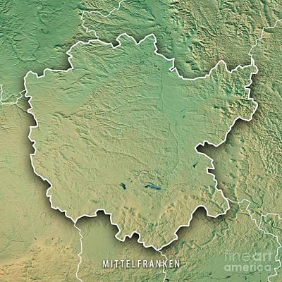 Digital Art - Mittelfranken Regierungsbezirk Bayern 3d Render Topographic Map  by Frank Ramspott