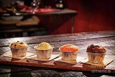Photograph - Mixed Freshly Baked Muffins In Cozy Coffeeshop Interior by Jacek Malipan
