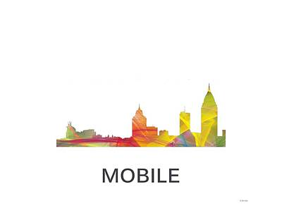 Art Mobile Digital Art - Mobile Alabama Skyline by Marlene Watson