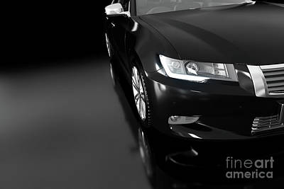 Modern Black Metallic Sedan Car In Spotlight. Generic Desing, Brandless. Art Print