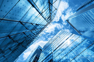 Rise Photograph - Modern Business Skyscrapers, High-rise Buildings, Architecture Raising To The Sky, Sun by Michal Bednarek