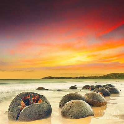 Stone Balls Photograph - Moeraki Boulders by MotHaiBaPhoto Prints