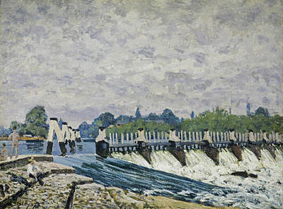 Sisley Painting - Molesey Weir, Hampton Court by Alfred Sisley
