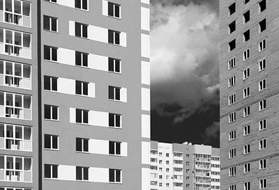 Photograph - Monochrome Modern Housing Blocks And Brooding Sky by John Williams