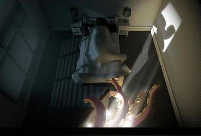 Monster Behind The Door Art Print by Allan Swart