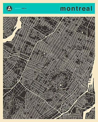 Montreal Digital Art - Montreal Map by Jazzberry Blue