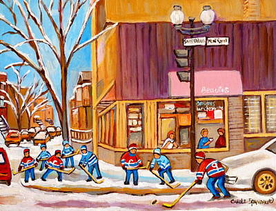 Afterschool Hockey Montreal Painting - Montreal Paintings by Carole Spandau