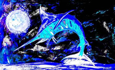 Wall Art - Painting - Moon And Marlin by Barry Knauff