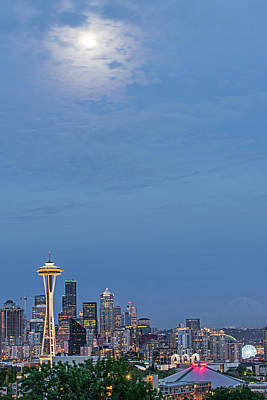 Photograph - Moon Over Seattle by Willie Harper