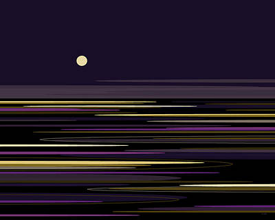 Abstract Seascape Digital Art - Moonlight Bay by Val Arie