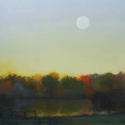Painting - Moonrise-footbridge At White Rock by Cap Pannell