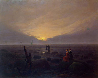 Nighttime Painting - Moonrise Over The Sea by Caspar David Friedrich