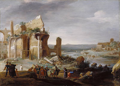 Aaron Painting - Moses And Aaron Changing The Rivers Of Egypt To Blood by Bartholomeus Breenbergh