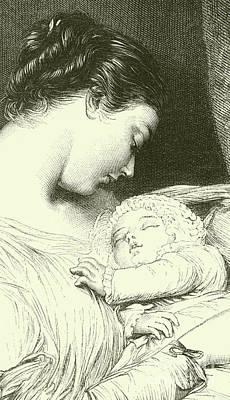 Drawing - Mother And Child by English School
