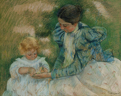 Pastel - Mother Playing With Child by Mary Cassatt