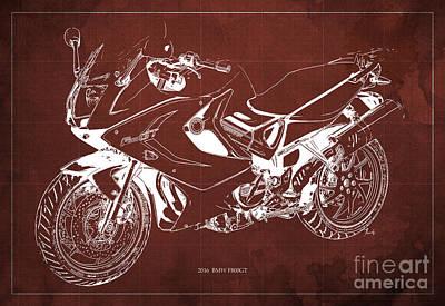 Giftideas Digital Art - Motorcycle Bmw F800gt 2016 Blueprint Original Artwork by Pablo Franchi
