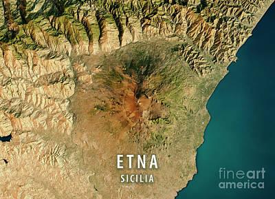 Geography Digital Art - Mount Etna 3d Render Satellite View Topographic Map by Frank Ramspott