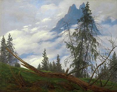 David Painting - Mountain Peak With Drifting Clouds by Caspar David Friedrich