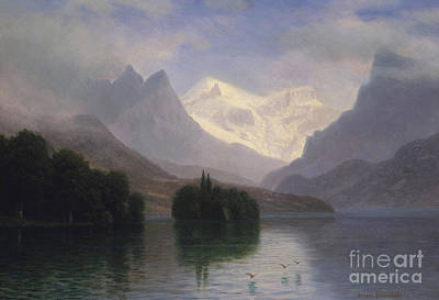 Flying Geese Painting - Mountain Scene by Albert Bierstadt