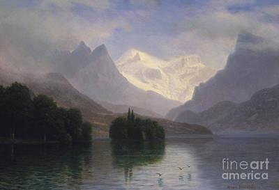 Mountain Scene Painting - Mountain Scene by Albert Bierstadt
