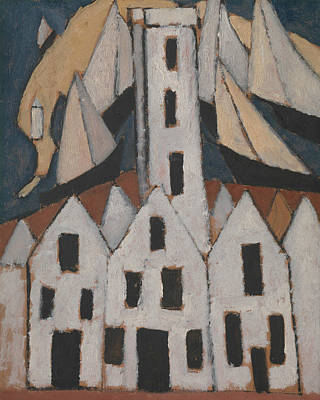 No. 5 Painting - Movement No. 5, Provincetown Houses by Marsden Hartley