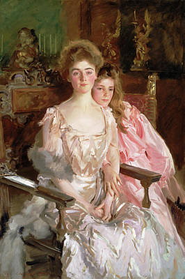 Mother And Daughter Painting - Mrs. Fiske Warren And Her Daughter Rachel by John Singer Sargent