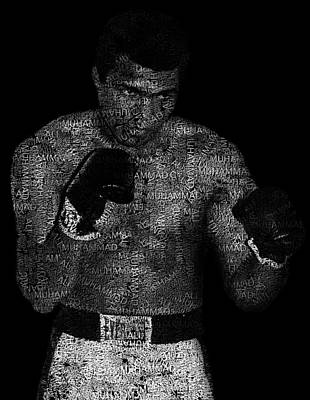 Muhammad Ali Or Cassius Clay Text Portrait - Typographic Face Poster Art Print by Jose Elias - Sofia Pereira