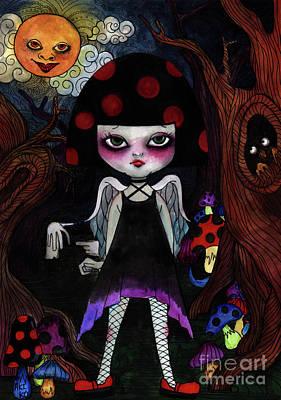 Painting - mushroom Girl by Akiko Okabe