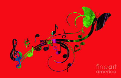 Note Mixed Media - Music Flows Collection by Marvin Blaine