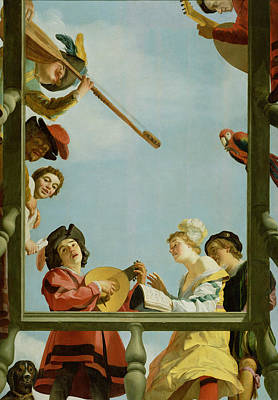 Painting - Musical Group On A Balcony by Gerard van Honthorst