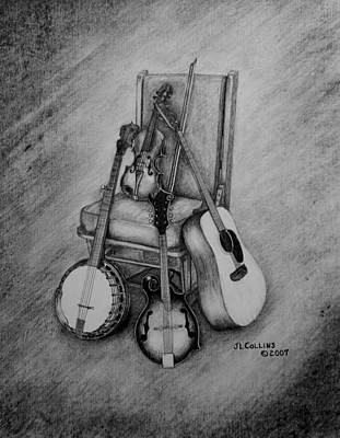 Banjo Wall Art - Drawing - Musical Still Life by Jimmy Collins