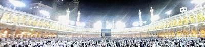 Hajj Painting - Muslim Pilgrims Circumambulate The Kaaba After Dawn Prayer At Masjidil Haram In Makkah, Saudi Arabia by Ammar Mas-oo-di