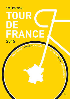 Bicycling Digital Art - My Tour De France Minimal Poster by Chungkong Art