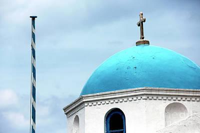 Religious Artist Photograph - Mykonos Blue Dome by John Rizzuto