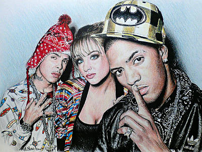Musicians Drawings - N Dubz by Andrew Read