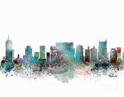 Painting - Nashville Tennessee Skyline  by Bri B