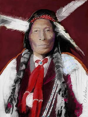 Cheyenne Headdress Painting - Native American 2 by Craig Nelson
