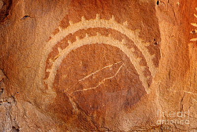Photograph - Native American Petroglyph On Sandstone by John Stephens